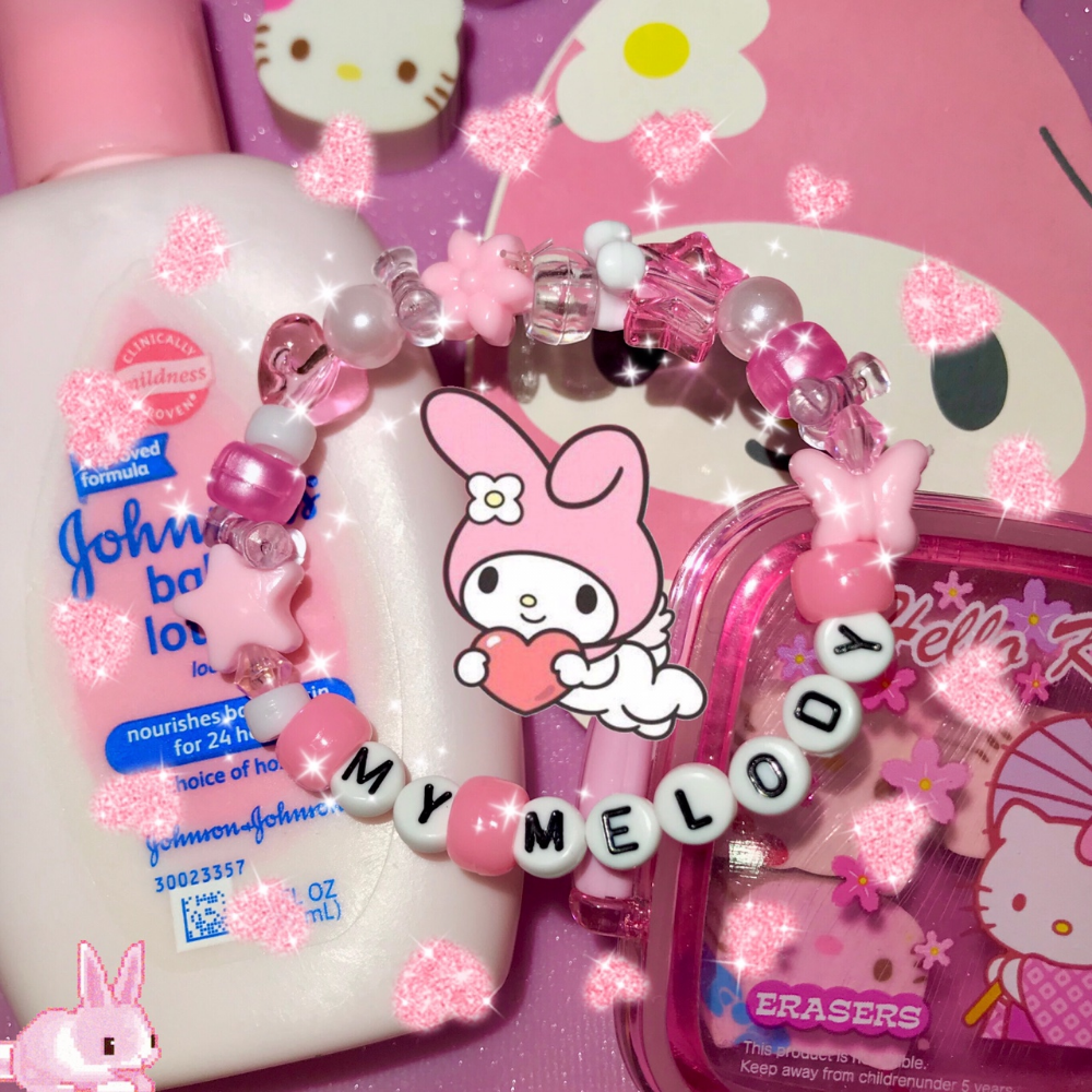 Photo of 🎀☁️🌸MY MELODY BEAD BRACELET🌸☁️🎀 ⚠️⚠️ i also have a… – Depop