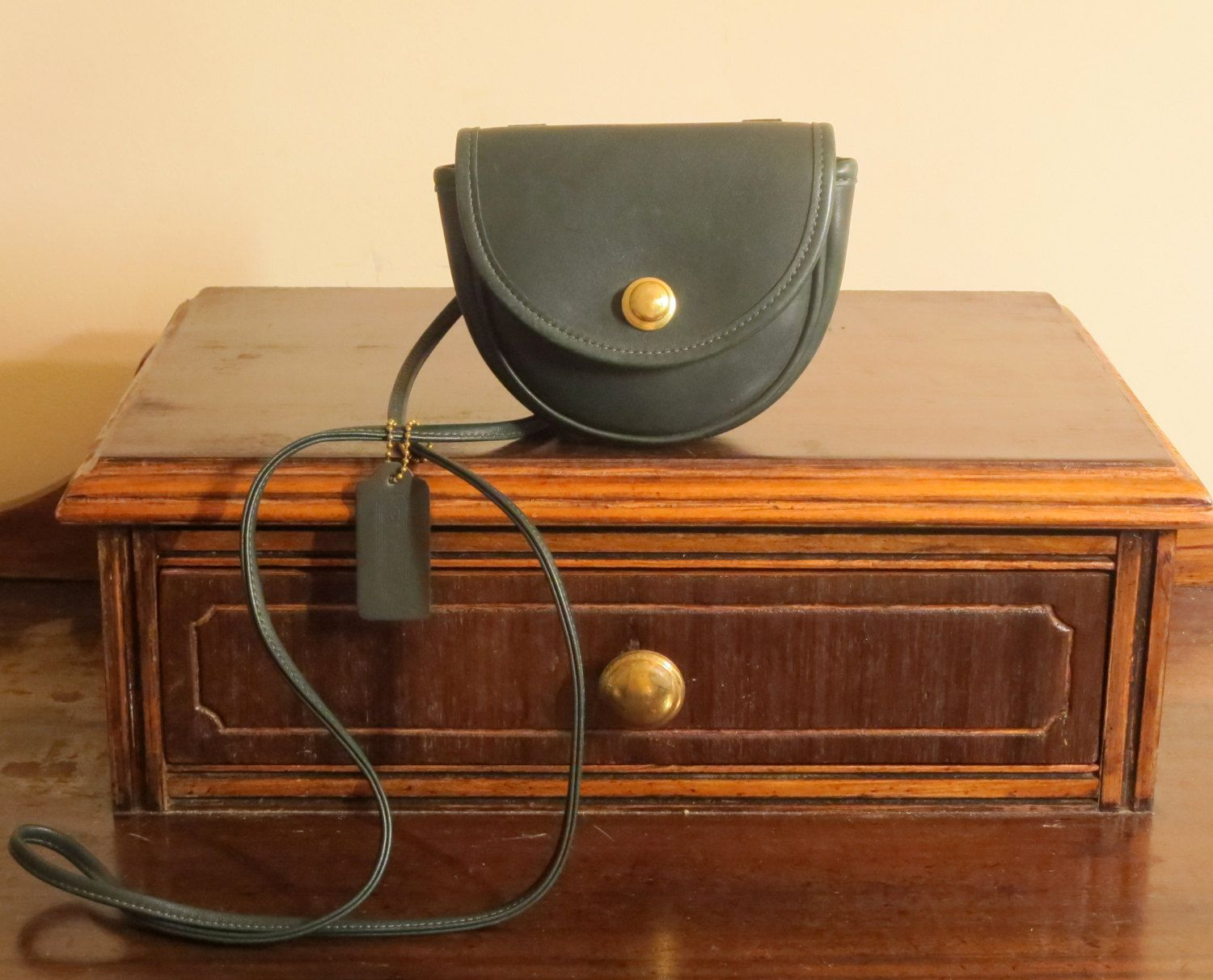 Coach Mini Belt Bag In Green Leather With Cross Body Strap # 9826- Made in U.S.A - Very Good Condition by ProVintageGear on Etsy