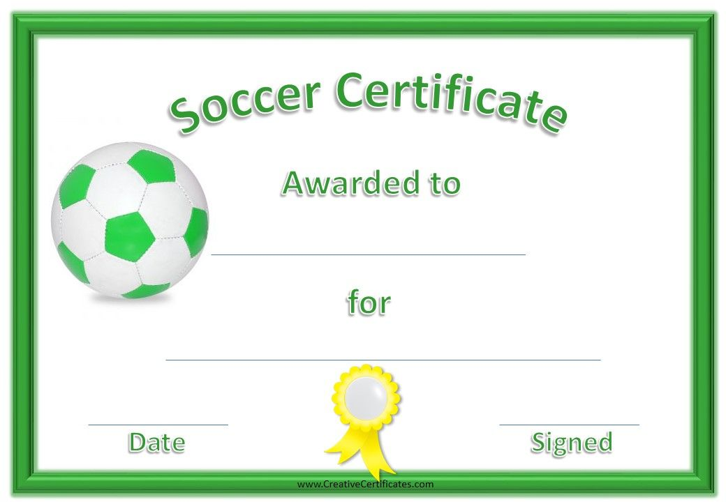 Soccer Certificates  Kids    Certificate And Soccer Gifts