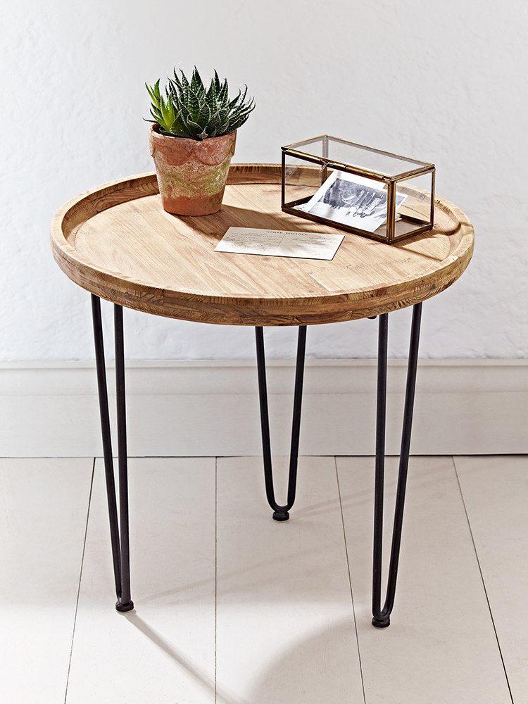 Beautifully Carved From Mango Wood With A Natural Finish That Boasts  Exposed Wood Grain Details, Our Simple Round Table Has Three Hairpin Black  Iron Legs.