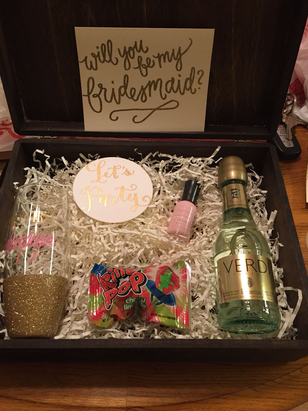 Bridesmaid asking gift cute presents for brides maids