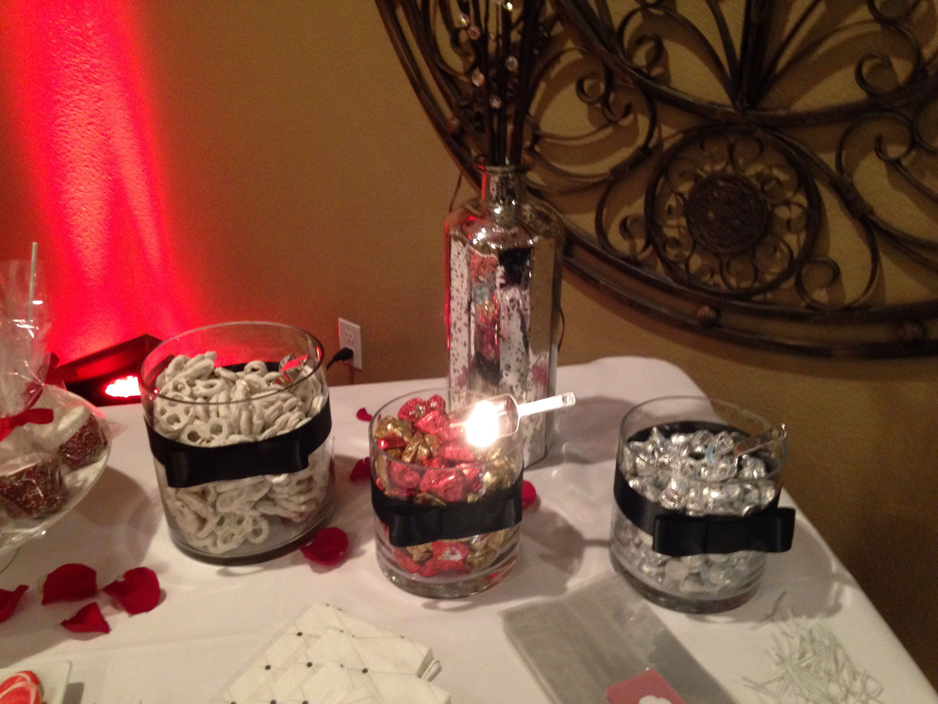 Candy Table Red, Black, and White color scheme Candy