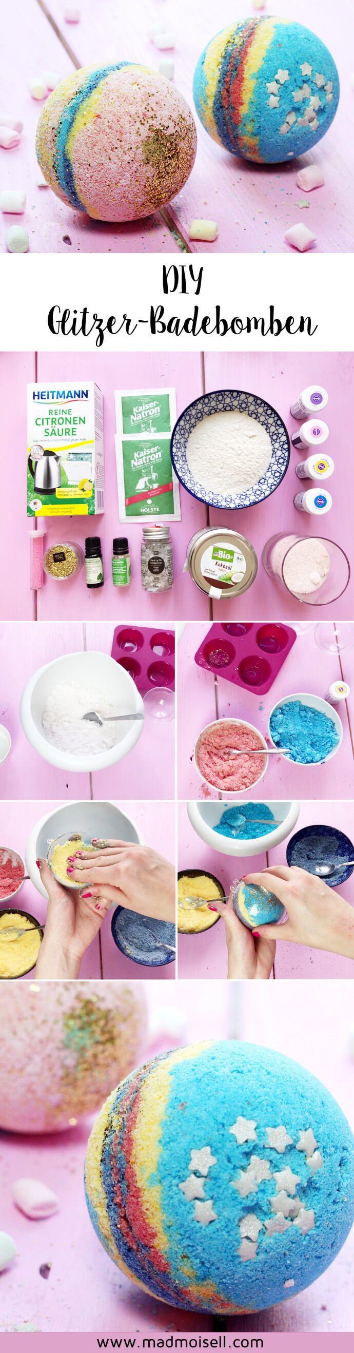 DIY Glitzer Badebomben im Lush-Style selber machen: Einfache DIY Anleitung für selbst gemachte Badebomben. (Cool Diy)