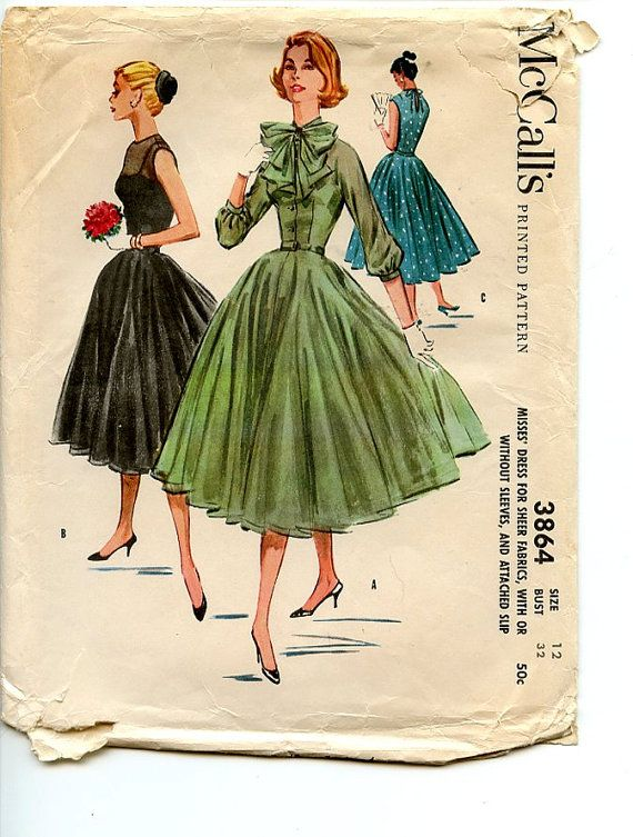 Vintage 1950s Dress McCall's 3864 Pattern by VioletCrownEmporium, $22.00