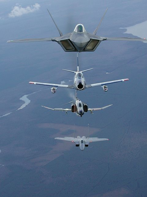 F22, F86, F4, F15 by Air Combat Command, via Flickr | Modern