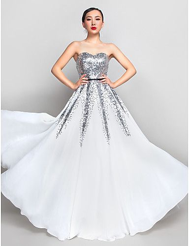 A-Line Sweetheart Floor Length Chiffon Sequined Prom Formal Evening ...