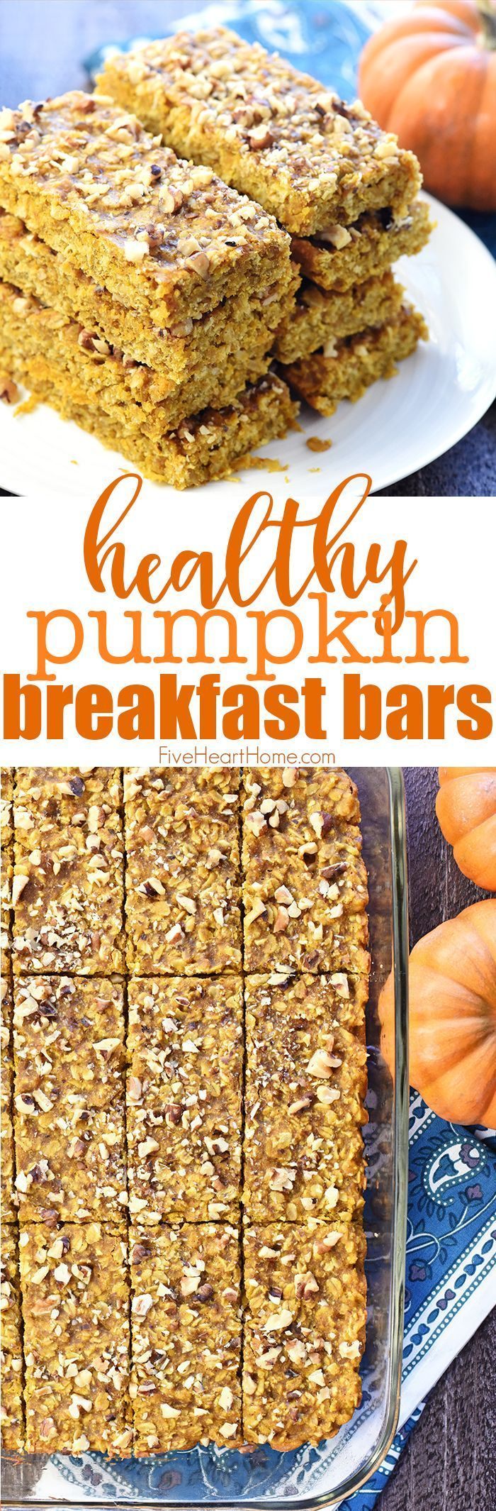 Breakfast Bars ~ soft-baked, chewy, and loaded with wholesome ingredients like oats, coconut oil, & honey for a grab-n-go breakfast or snack! |Pumpkin Breakfast Bars ~ soft-baked, chewy, and loaded with wholesome ingredients like oats, coconut oil, & honey for a grab-n-go breakfast or snack! |