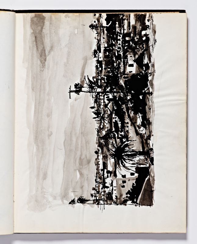 Diebenkorn, Ink wash with pen and ink , Page 069 from Sketchbook # 24 [landscape]