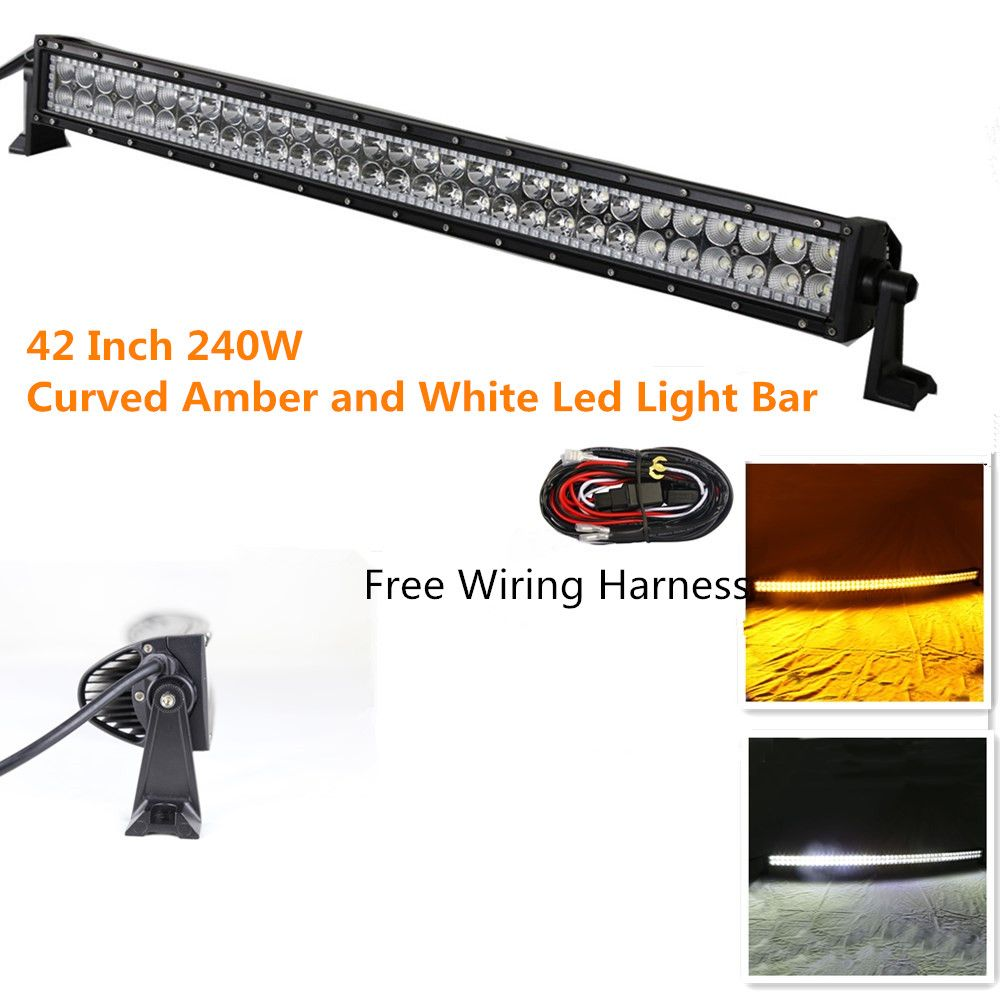 hight resolution of night break light curved 240w 42inch free wiring harness amber white led light bar off road
