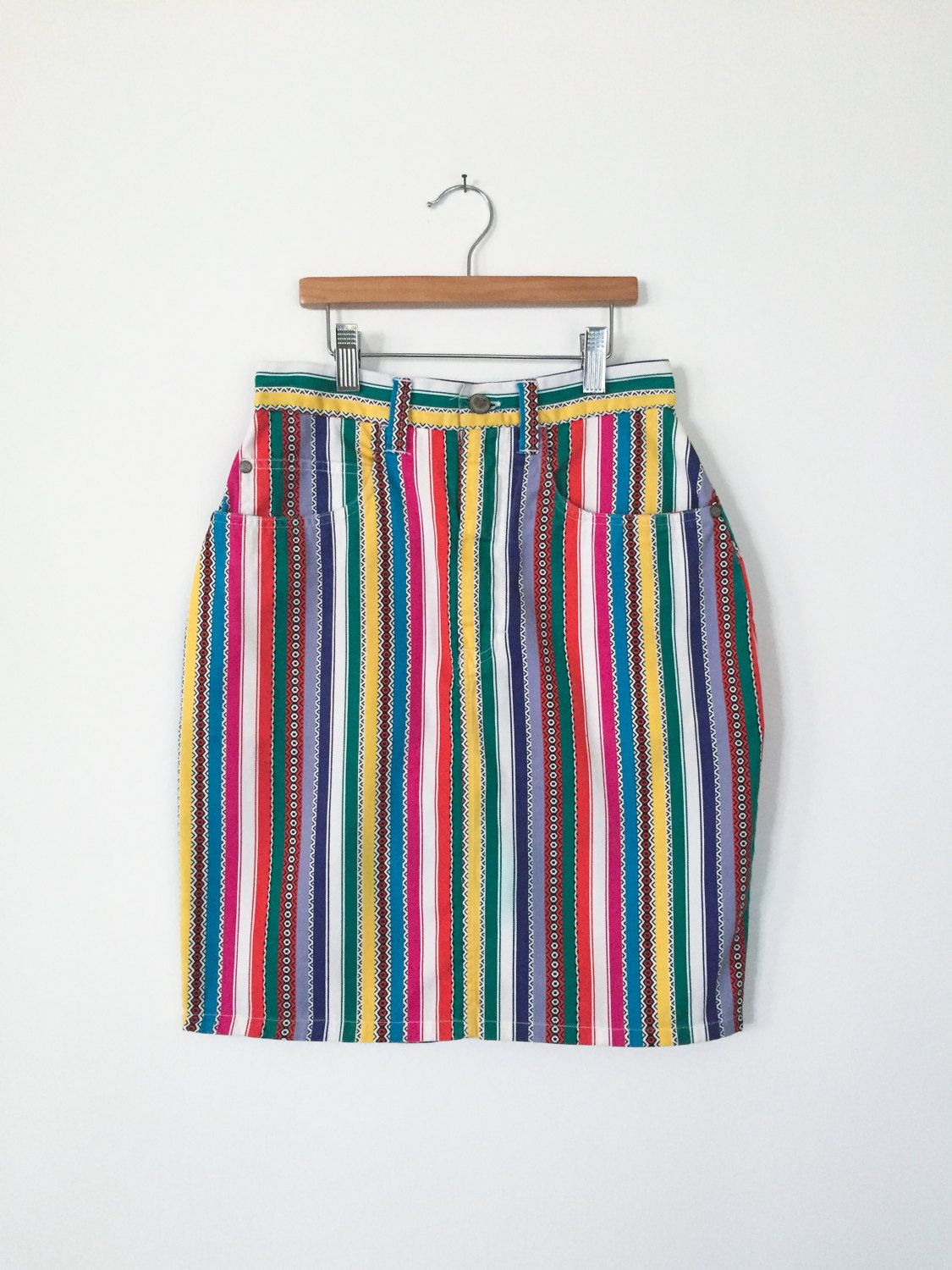"Vintage 1980s/1990s ""P. S. Gitano Jeans Wear"" Multi-Color Patterned Striped Denim High Waisted Mini Pencil Skirt- Women's size 3/4 by MeGustaVintage on Etsy"