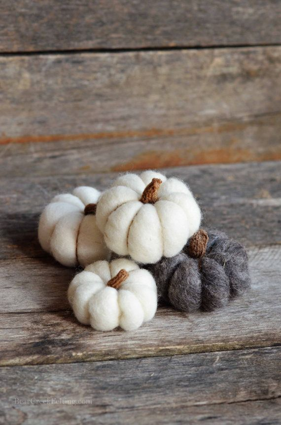 Needle Felted set of 4 pumpkins by BearCreekDesign