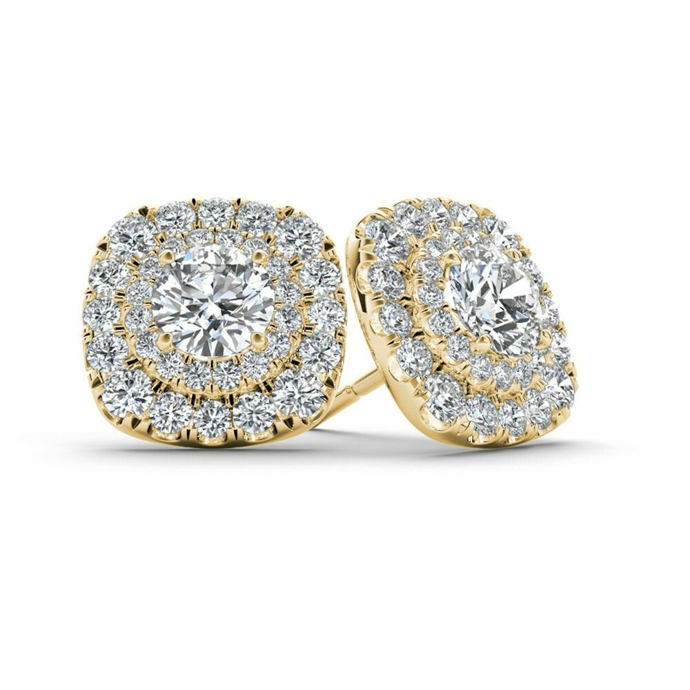 1.10Ct Round Cut VVS1//D Diamond Cluster Stud Earring Solid 14K White Gold Finish