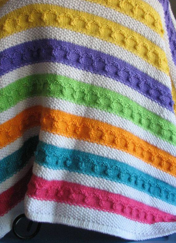 Multi Colored Knitted Afghan Yarn Knitted Baby