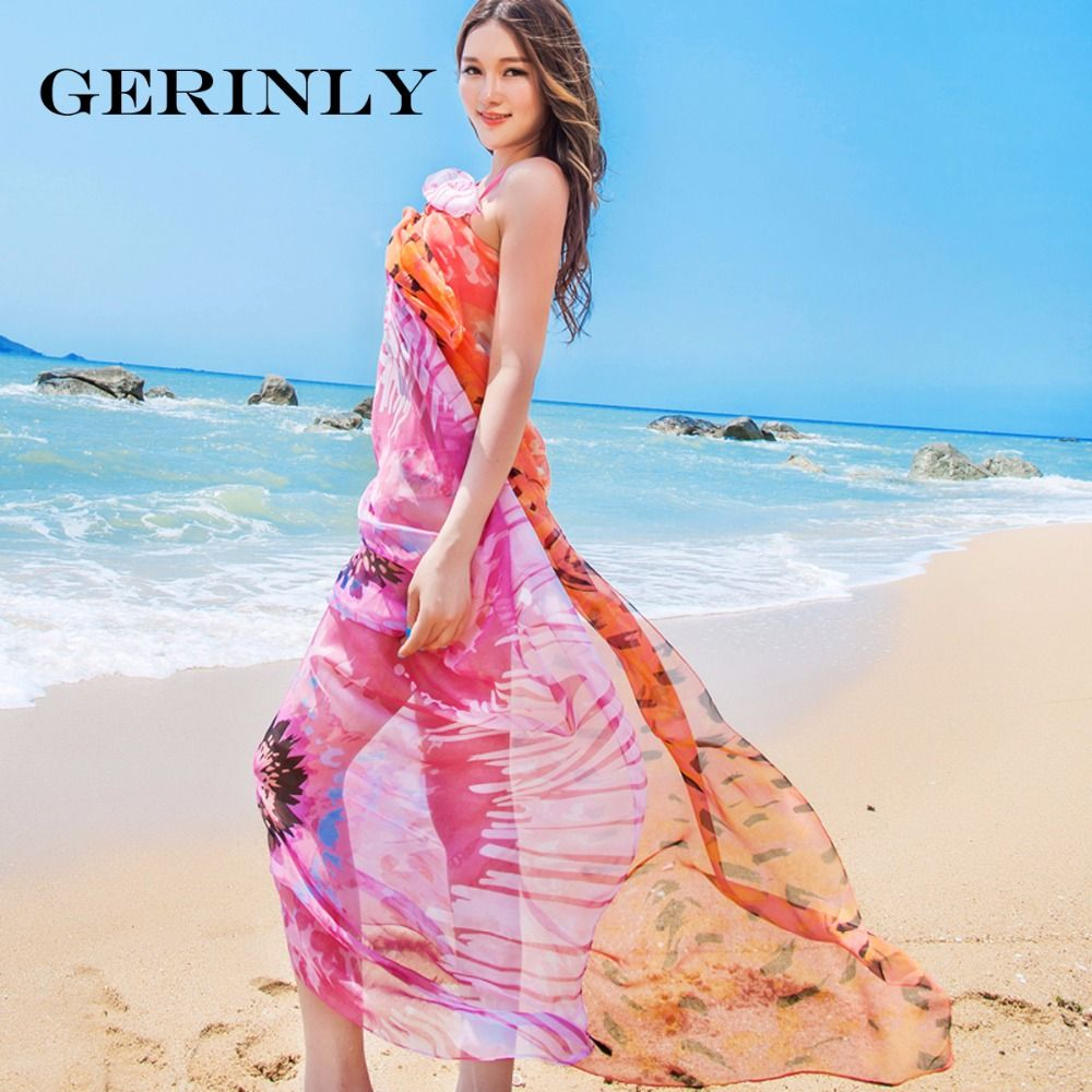 9fd94a70ee Click to Buy << GERINLY Brand Pareo Sweet Flower Pattern Plus Size Scarf  Beach Cover Up Chiffon Sarong Sexy Women Luxury Wrap Shawl Hijab #Affiliate