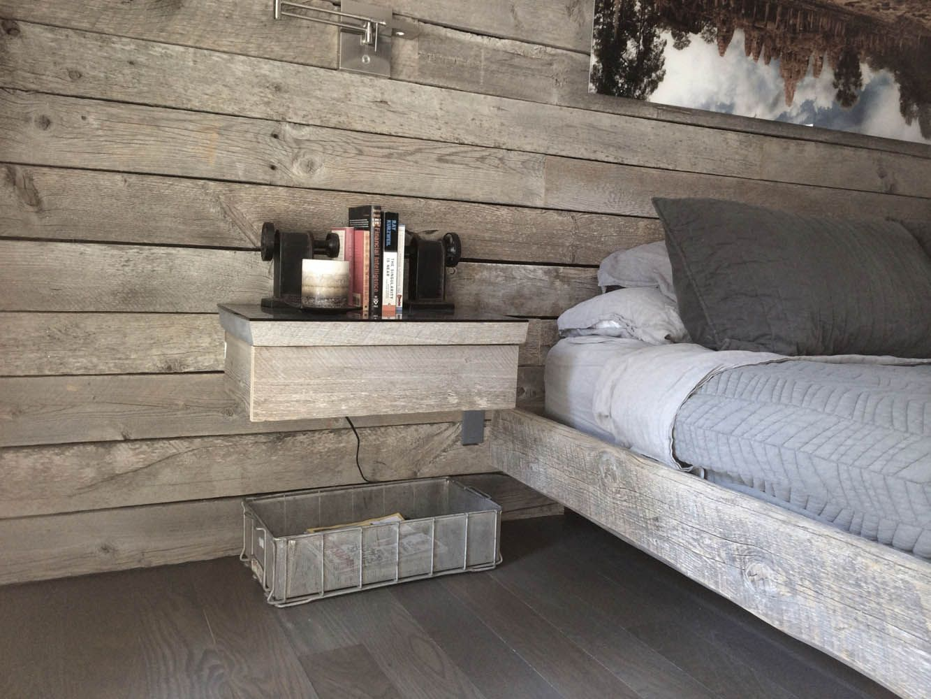 This Bedroom Used Sanded Gray Board Planking For Both The Accent