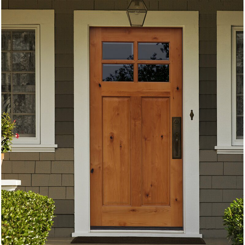 Shaker Craftsman 4 Lite Beveled Ready To Install Wood Prehung Front Entry Door In 2020 Front Entry Doors Craftsman Front Doors Garage Door Design