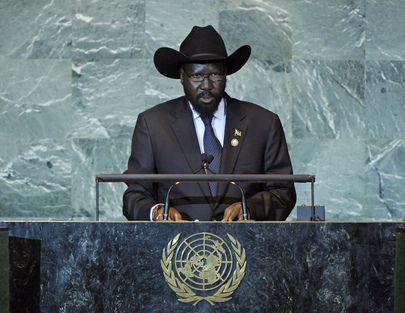 Salva Kiir, President of South Sudan in George W. Bush hat