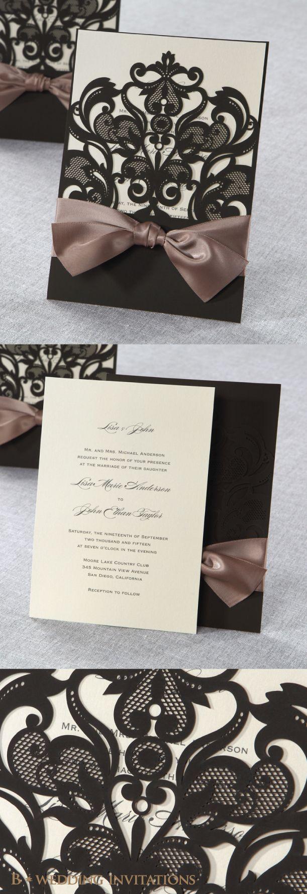 Elegant Laser Cut Half Pocket with a Bow by B Wedding Invitations