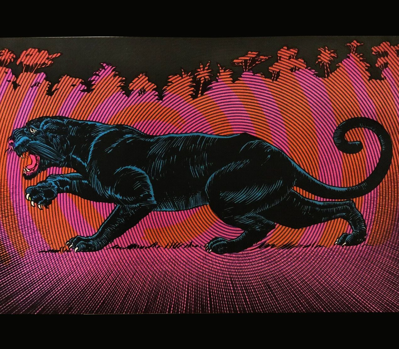 Psychedelic Vintage 1960s Blacklight Poster Black Panther In 2020 Black Panther Tattoo Black Panther Good Luck Today