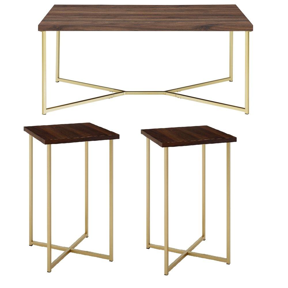 Manor Park 3 Piece Square Coffee Table Set Dark Walnut Gold Walmart Com Coffee Table Square Coffee Table Setting Coffee Table Rectangle [ 1000 x 1000 Pixel ]