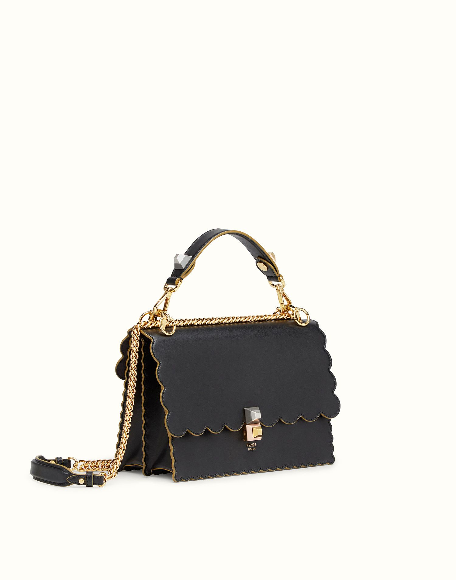 96244301b4 FENDI KAN I - Black and gold leather bag - view 2 zoom