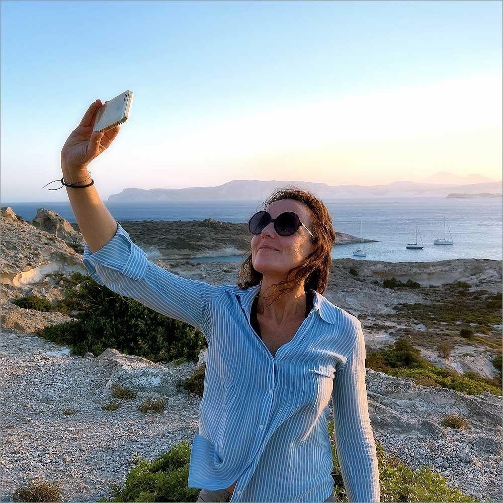 Island Beach People: Unknown People · Sunset Selfie · Polyaigos Island · 2017