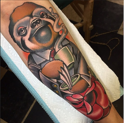 Classy sloth tattoo by Nick Sarich InkedMagazine sloth