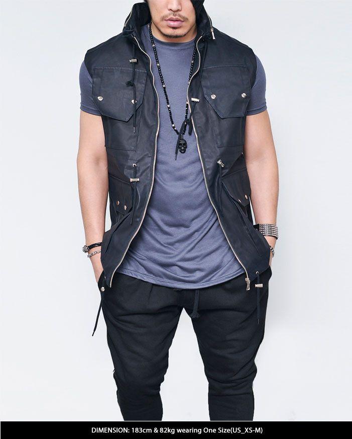 Coating Leather Multi Pocket Hood Vest