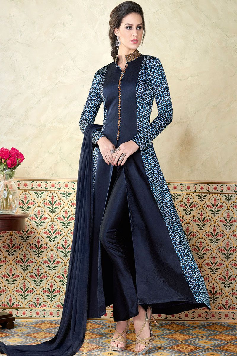 8db759cb6 Blue Printed Beautiful Look Traditional Party Wear Straight Cut Pant Style Salwar  Suit  bluedresses  straightsuit  fashion  floorlength  anarkali ...