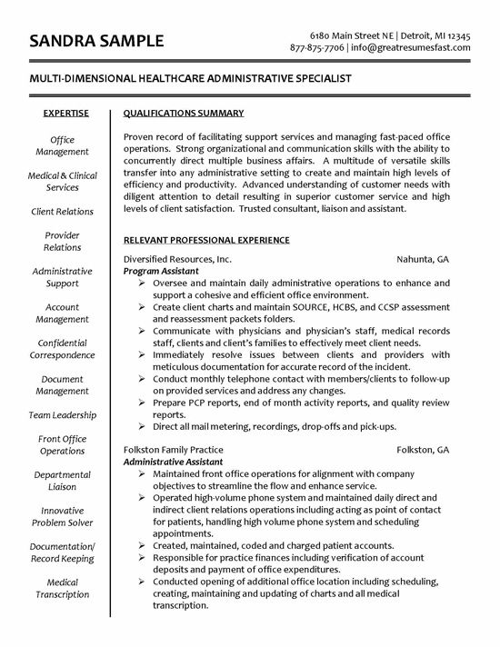 Healthcare Specialist Administrative Assistant Resume Medical