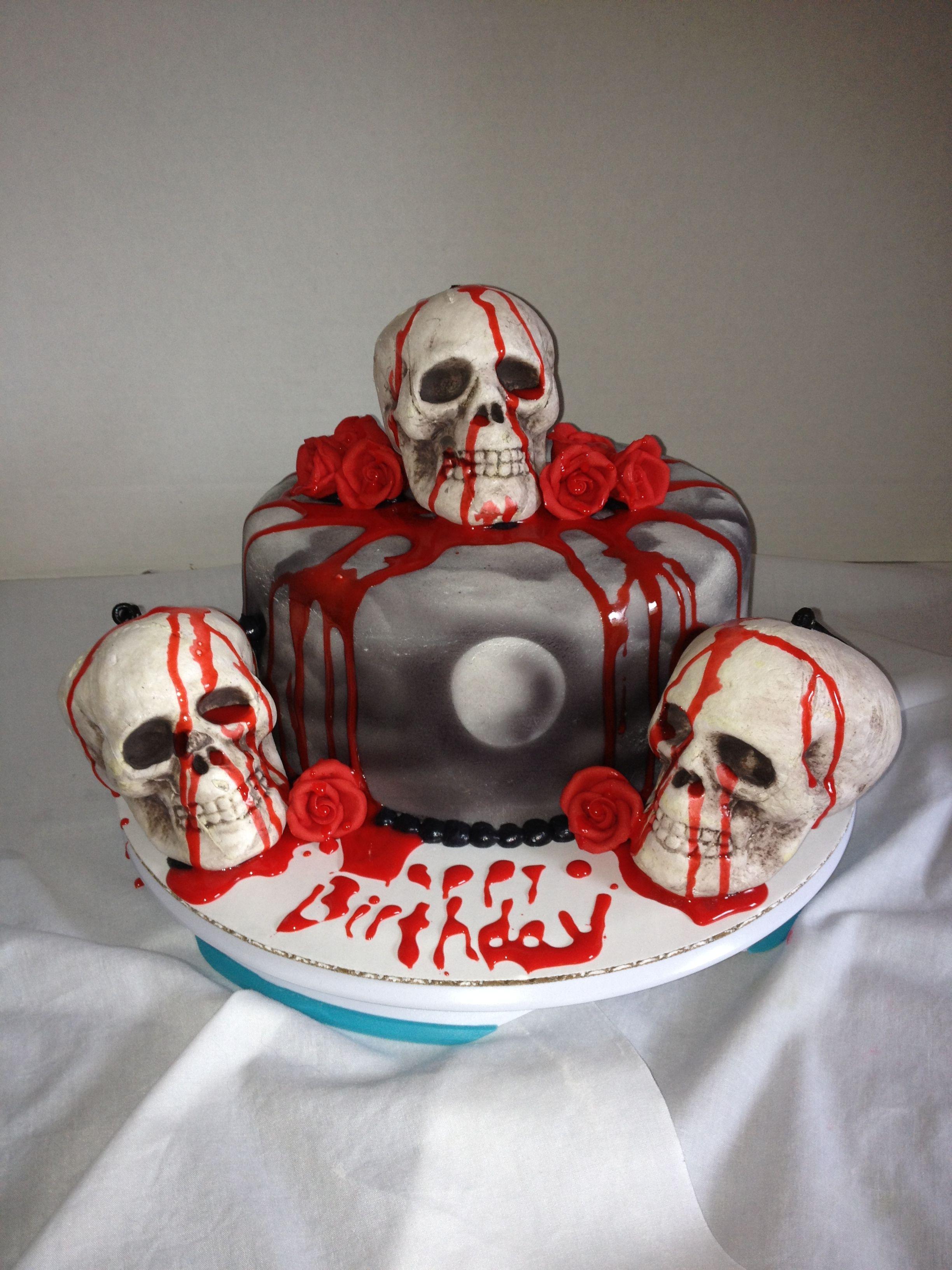 Happy Birthday Ashley Skull Cake