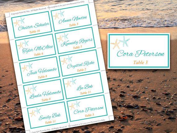 Starfish Place Card Template Beach Wedding Escort Card Lazy - Place card setting template