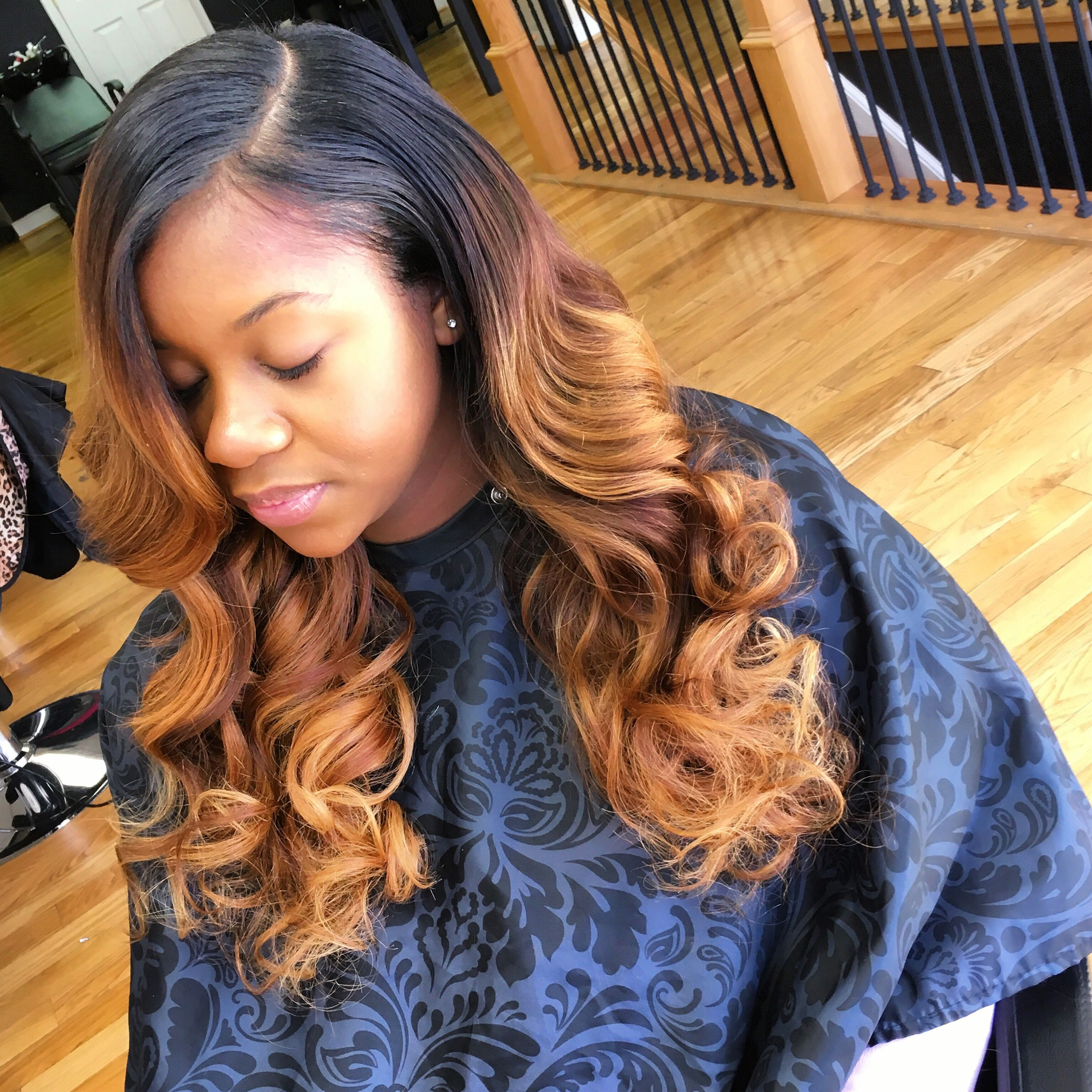Brown And Blonde Highlights Sew In Deep Side Part