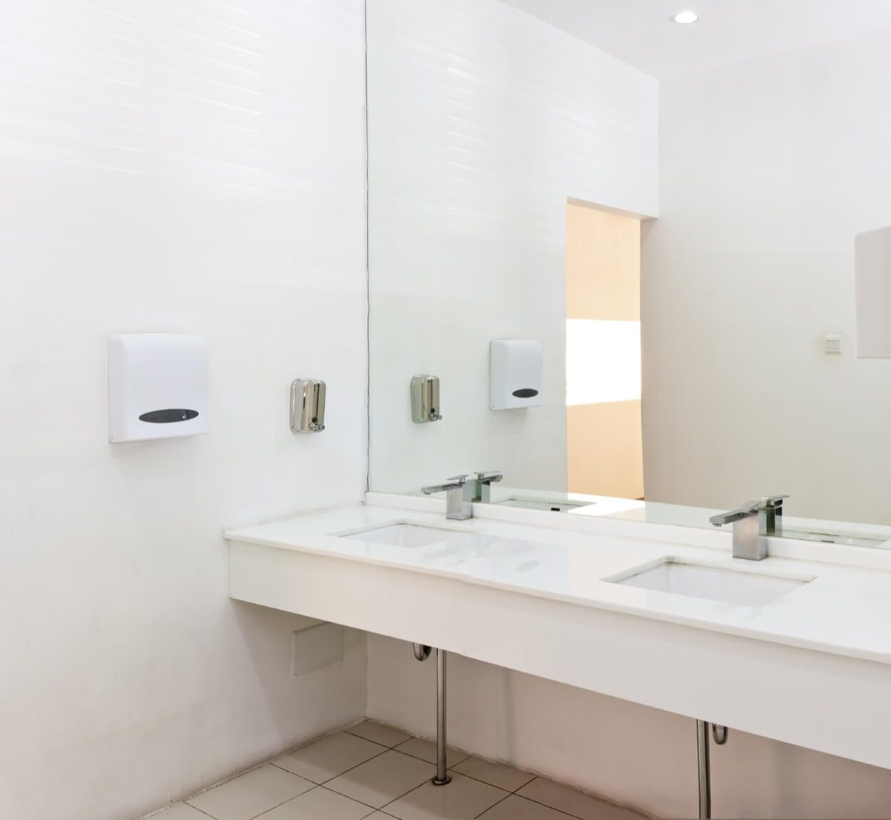 White Vanity With Double Inlaid Sinks And Large Mirror | Bathroom ...