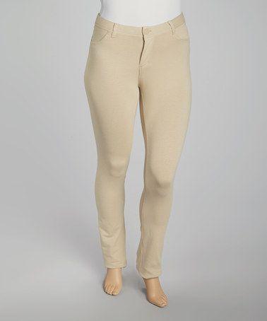 6cd3e79cc3f Take a look at this Khaki Skinny Fly-Front Jeggings - Plus by Poplooks on   zulily today!