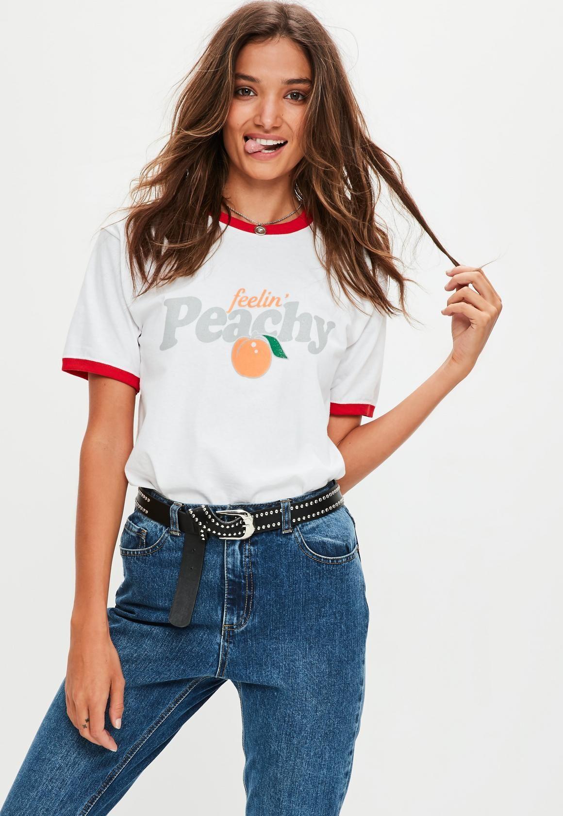 6055b7394 Missguided - White Feelin' Peachy T-Shirt | T shirts | Shirts ...