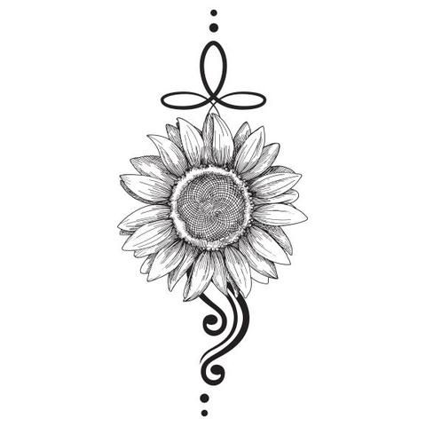 Black and White Sunflower Temporary Tattoo