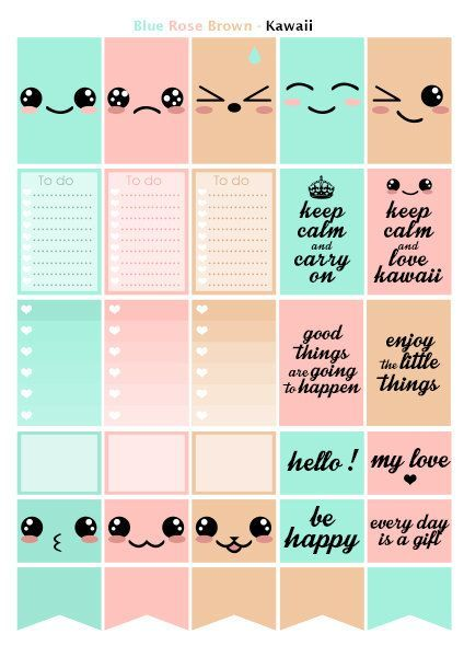 kawaii rose bleu beige printable stickers 3 pdf t l chargement instantan planner. Black Bedroom Furniture Sets. Home Design Ideas