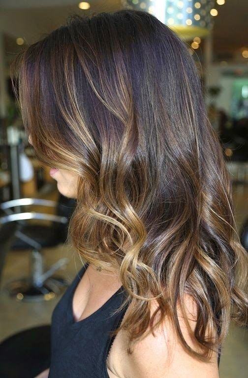 Ombre Hair Brown To Caramel To Blonde Medium Length Highlights Unde...