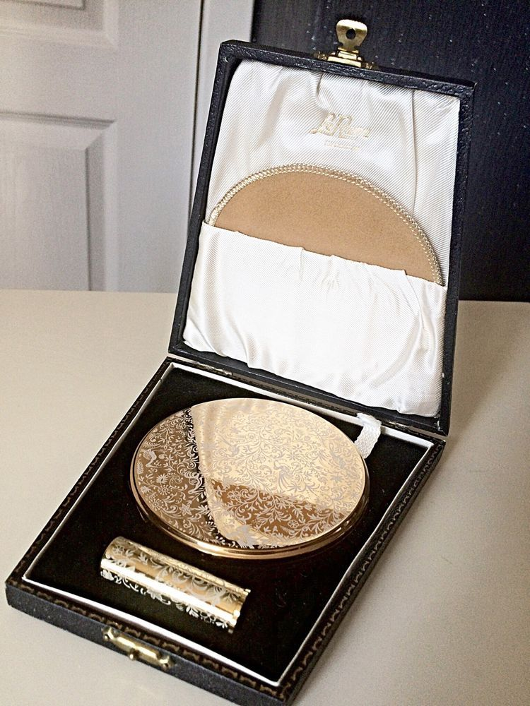 Le Rage Vintage Old Antique Compact Mirror Set In Box Lipstick Brass Collector
