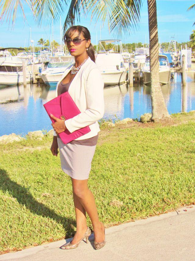Gray t-shirt, gray skirt, white blazer, pink clutch, python pumps