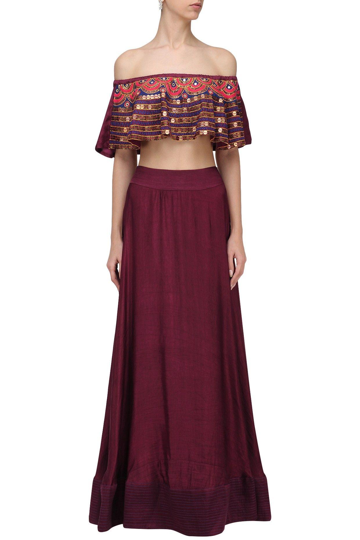 d7ff154a519 ROSHNI CHOPRA Burgundy Embroidered Off Shoulder Top and Skirt Set. Shop Now!   roshnichopra  ethnic  burgundy  skirt  embroidered  indianfashion ...