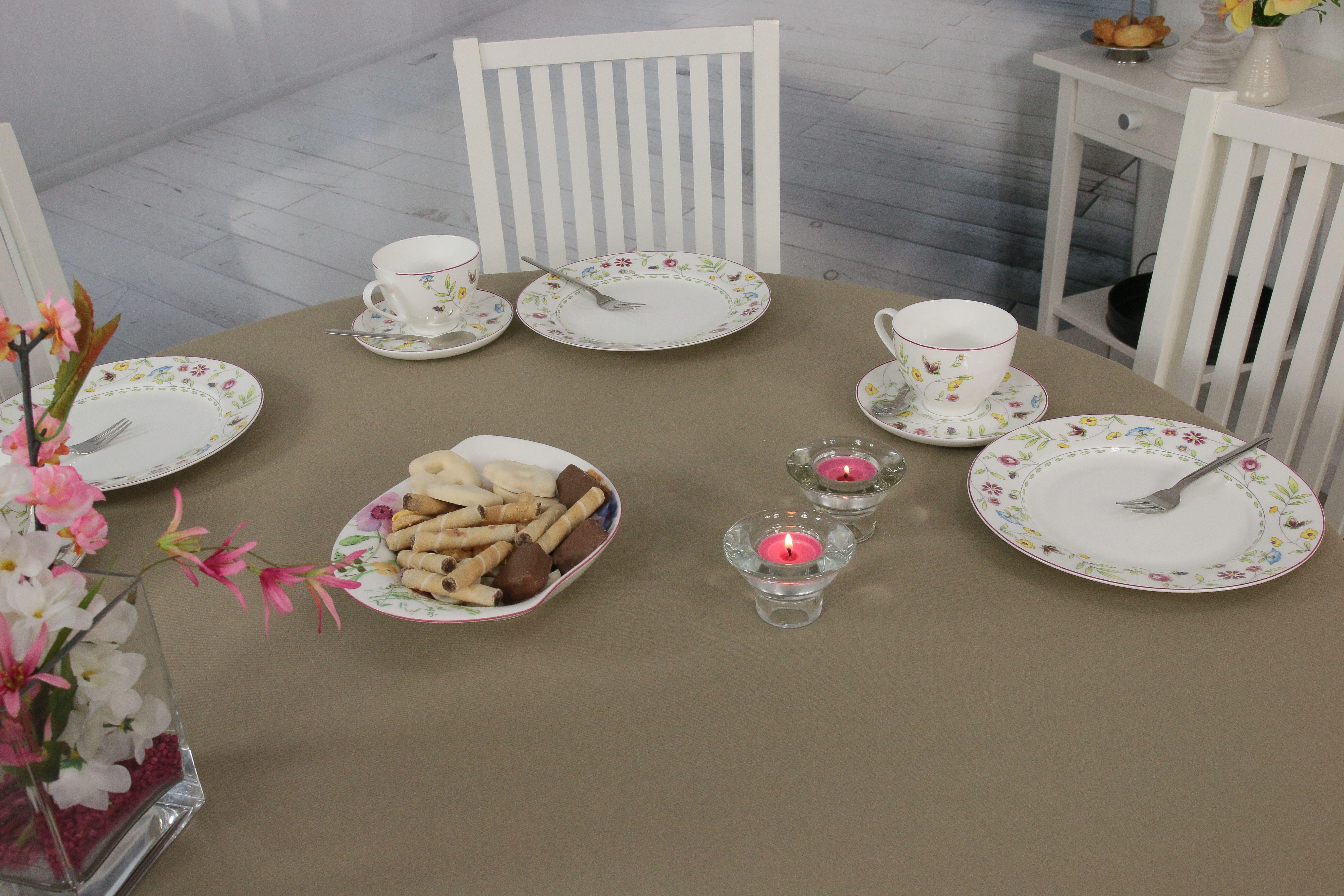 Dekorieren Sie Ihren Gartentisch Mit Einer Nougatfarbenen Tischdecke