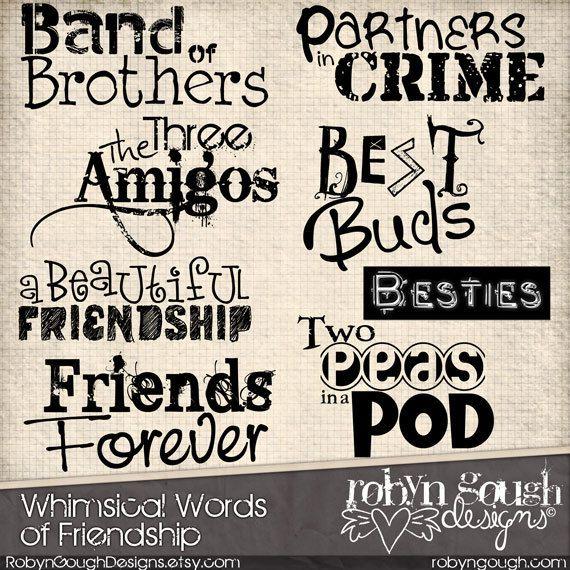 Friends Word Art Clipart. Digital Scrapbook Word Art Titles Clipart - Friendship Word Art Overlays - Photo Overlays. Word Art Clip Art | Scrapbook ...