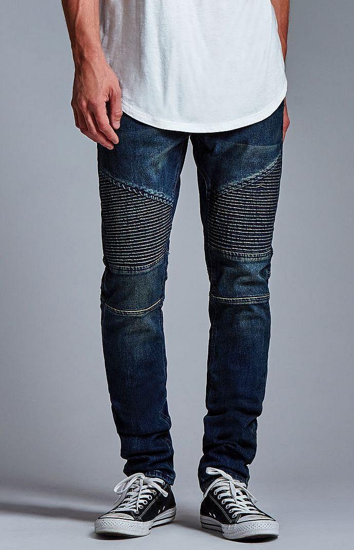 Dark Indigo Moto Stacked Skinny Jeans