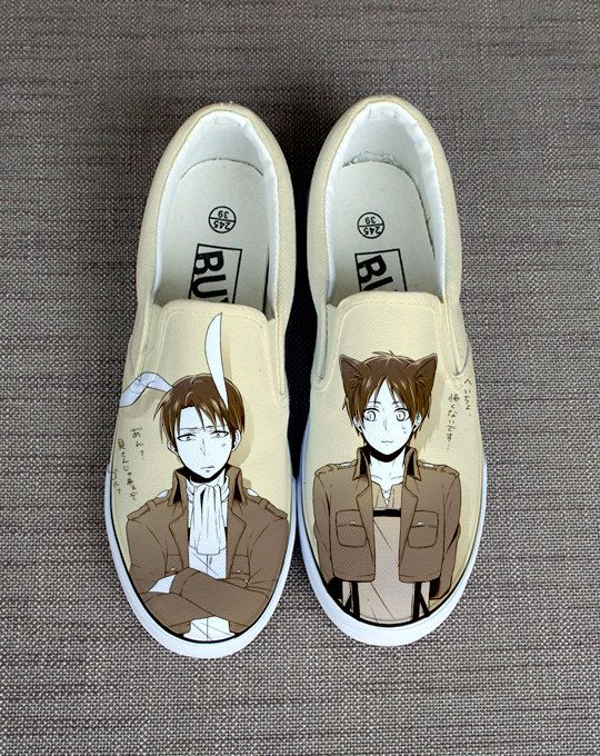 Attack on titan shoes. Fan art shoes. Attack on titan vans. Advancing Giants