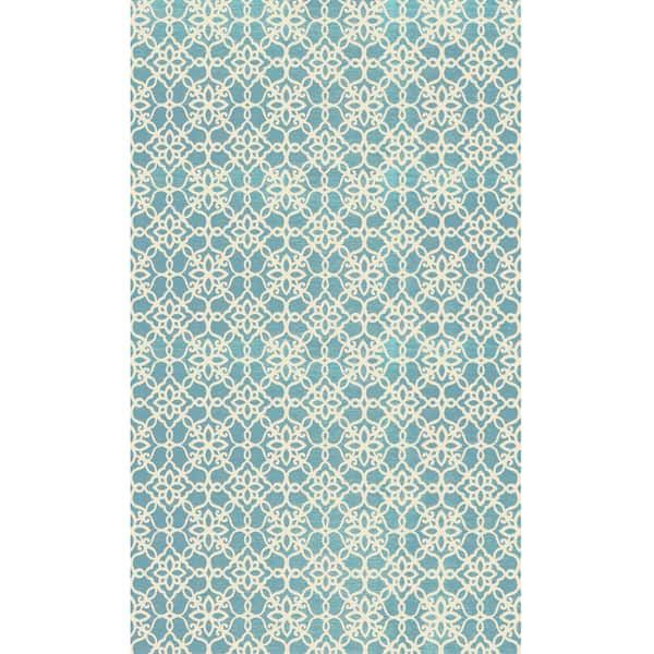Indoor Outdoor Stain Resistant Accent Rug Aqua Blue And White