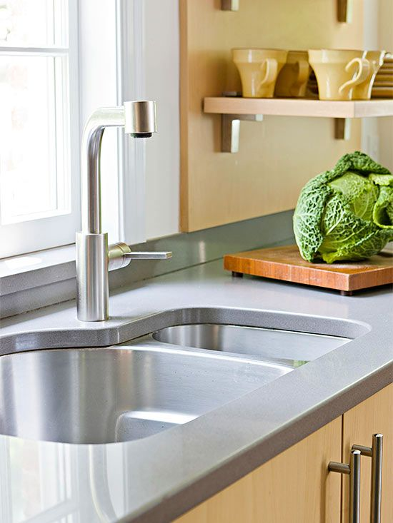 Under-Mount Stainless Steel Sink--YES.  However, switch the large and small basins.  Not too keen on the faucet.