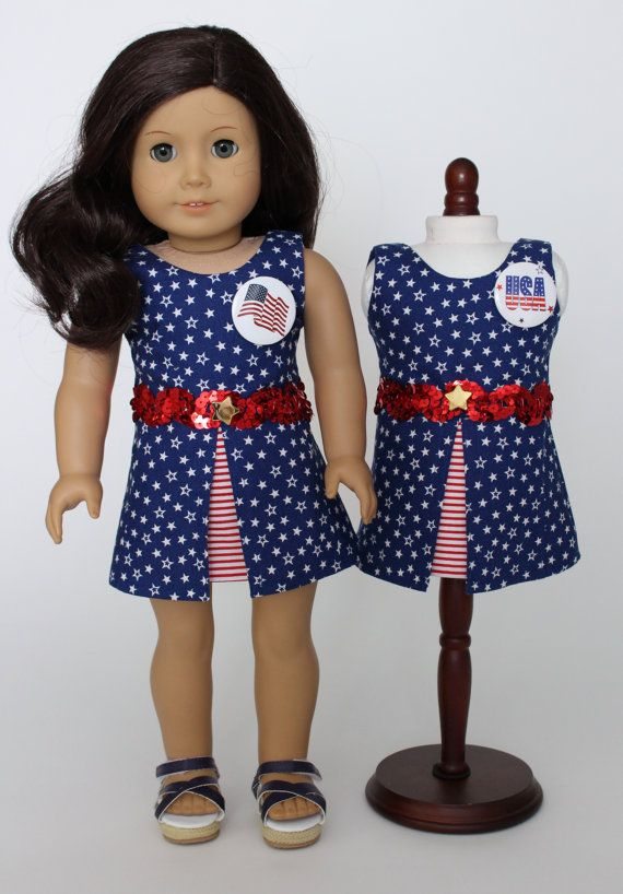 18 inch doll clothes - Stars and stripes patriotic dress. Perfect red white and…