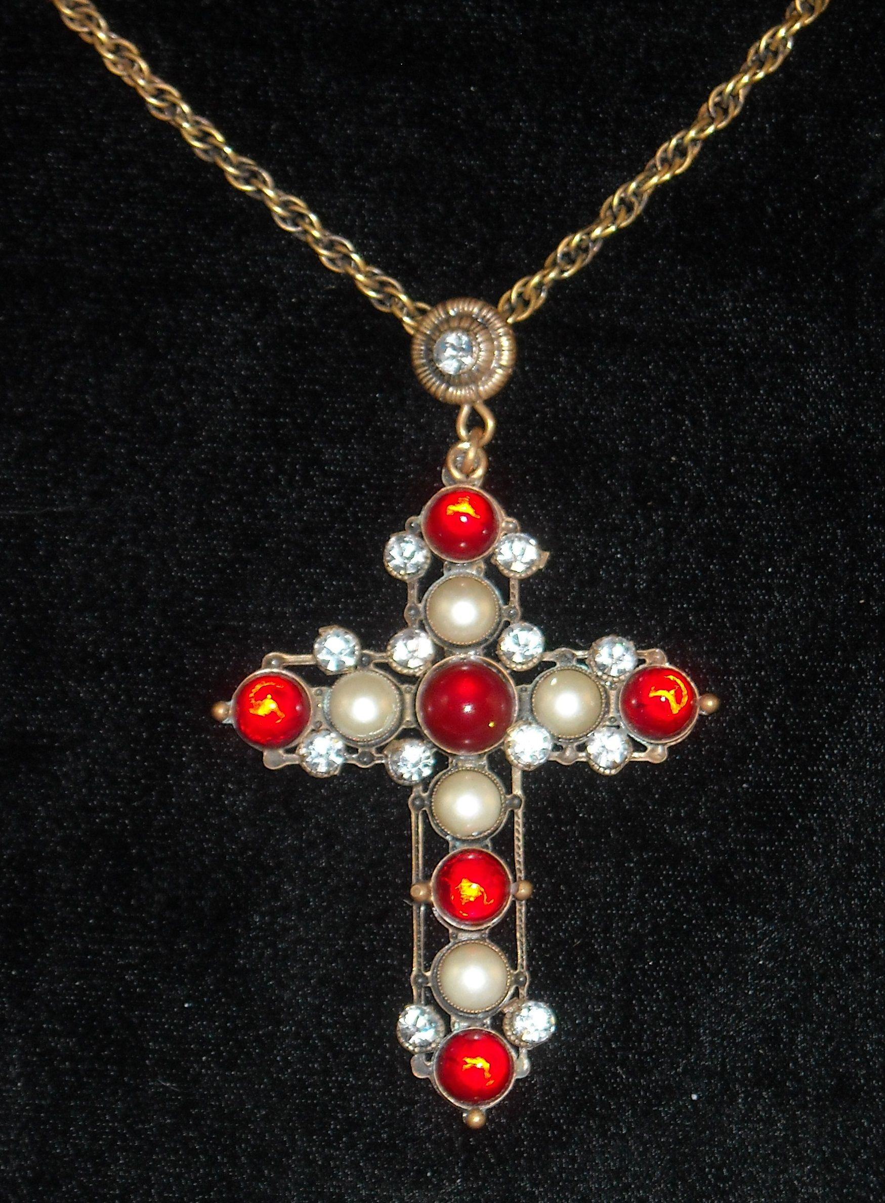 Joseff hollywood jewelled ruby cabochon and pearl cross necklace joseff hollywood jewelled ruby cabochon and pearl cross necklace aloadofball Gallery